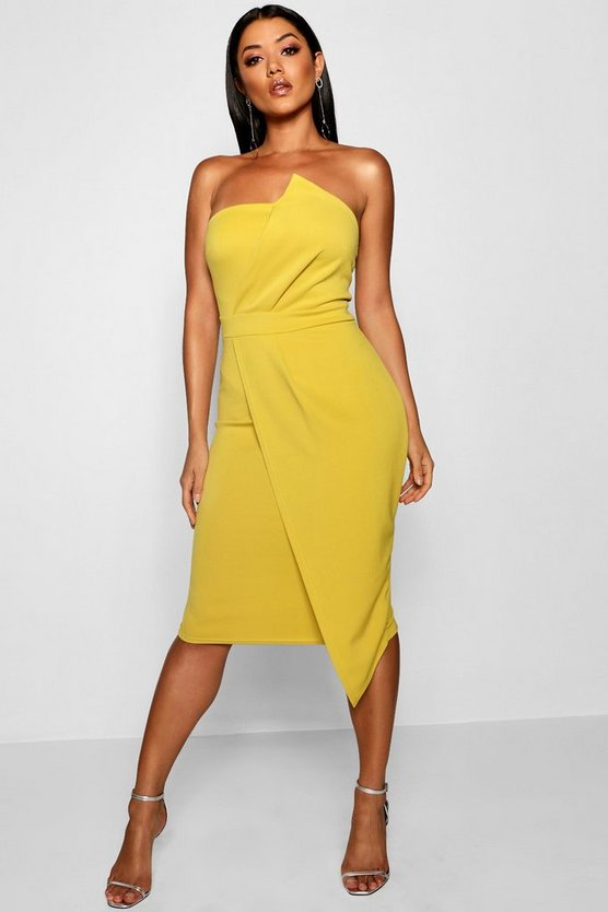 Zoey Bandeau Wrap Detail Midi Dress, Chartreuse, Donna