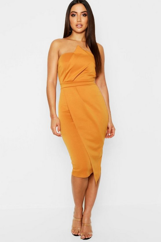 Womens Mustard Zoey Bandeau Wrap Detail Midi Dress
