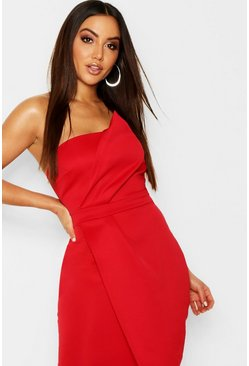 Womens Red Zoey Bandeau Wrap Detail Midi Dress