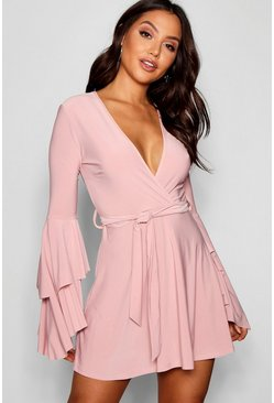 Blush Plunge Neck Flared Sleeve Skater Dress