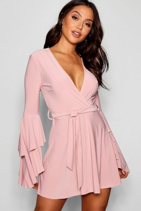 Womens Blush Plunge Neck Flared Sleeve Skater Dress