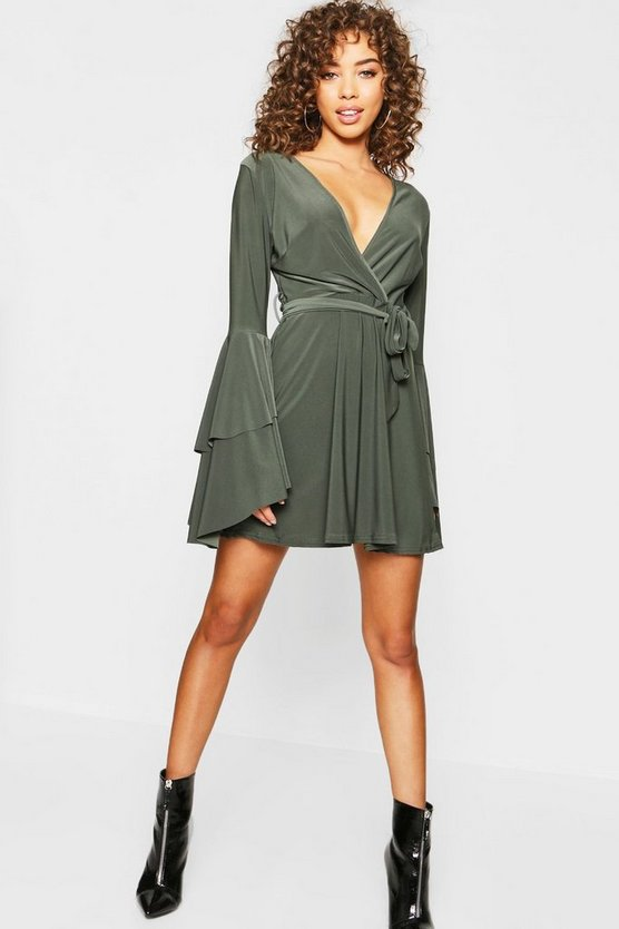 Womens Khaki Plunge Neck Flared Sleeve Skater Dress