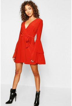 Terracotta Plunge Neck Flared Sleeve Skater Dress