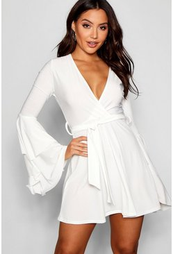 White Plunge Neck Flared Sleeve Skater Dress