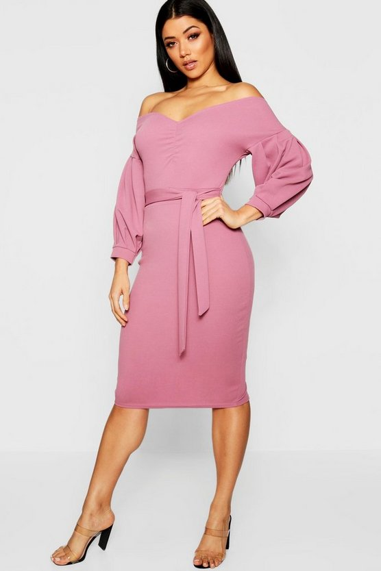 Womens Berry Florence Off the Shoulder Midi Dress