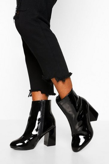 Womens Black Wide Fit Block Heel Shoe Boots