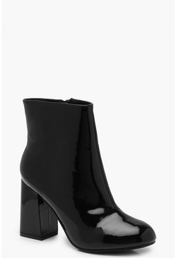 Womens Black Extra Wide Fit Block Heel Shoe Boots