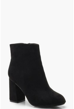 Dam Black Extra Wide Fit Block Heel Shoe Boots