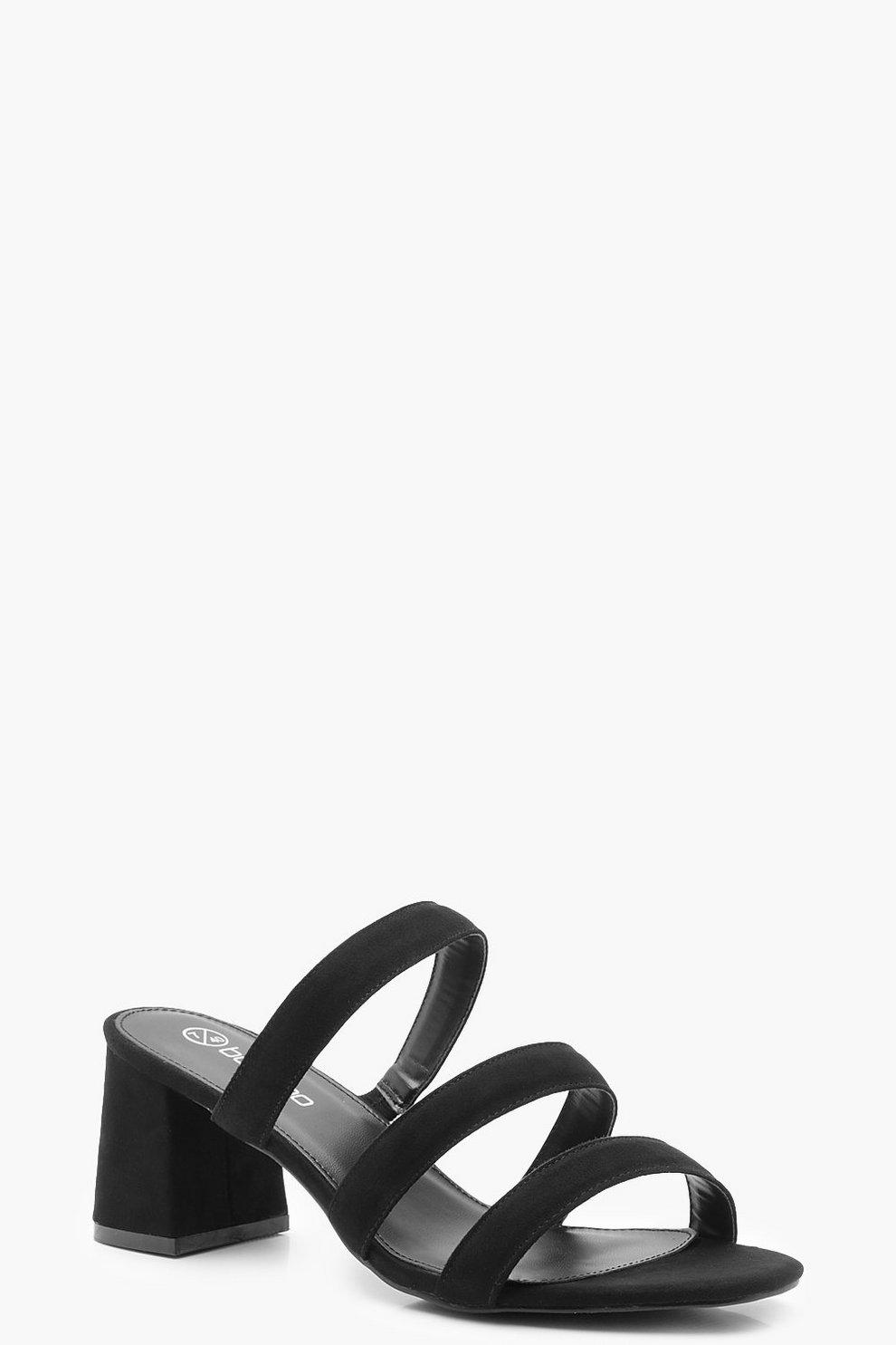 f724696750b4 Wide Fit Multi Strap Block Heel Mules | Boohoo
