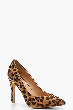 Extra Wide Fit Leopard Pointed Court Shoes