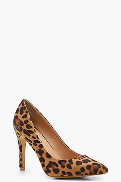 Wide Fit Leopard Pointed Court Shoes