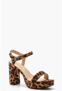 Womens Wide Fit Leopard Two Part Platform Heels