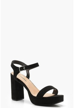 Black Extra Wide Fit Platform Two Part Heels