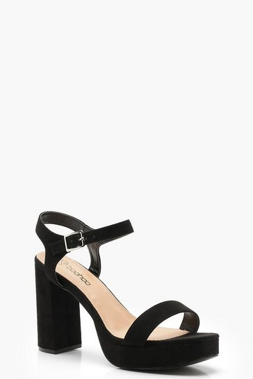 Womens Black Wide Fit Two Part Platform Heels