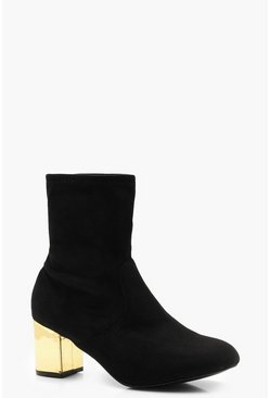 Womens Black Wide Fit Contrast Heel Sock Boots