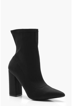 Extra Wide Fit Block Heel Sock Boots, Black, Donna
