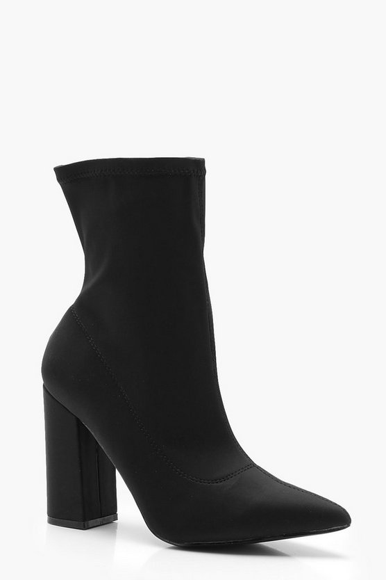 Extra Wide Fit Block Heel Sock Boots by Boohoo