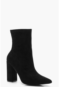 Extra Wide Fit Block Heel Sock Boots, Black, DAMEN