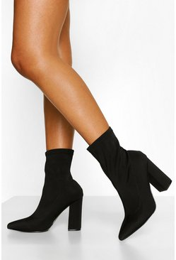 Dam Black Wide Fit Block Heel Sock Boots