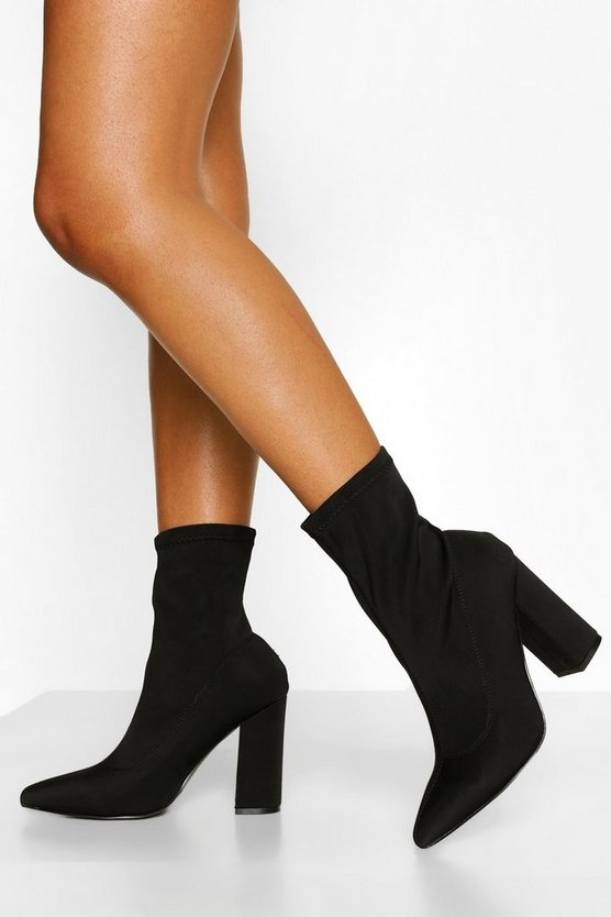 Wide Fit Block Heel Sock Boots, Black, Donna