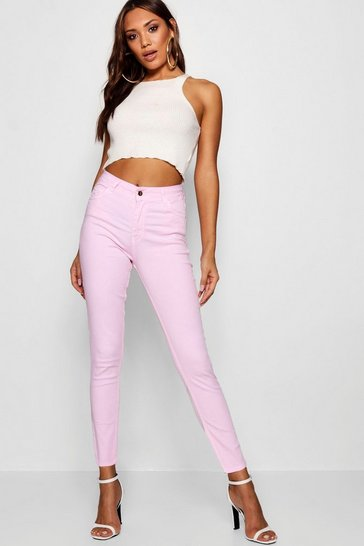 Womens Pink Kimberly Pastel Denim Skinny Jeans