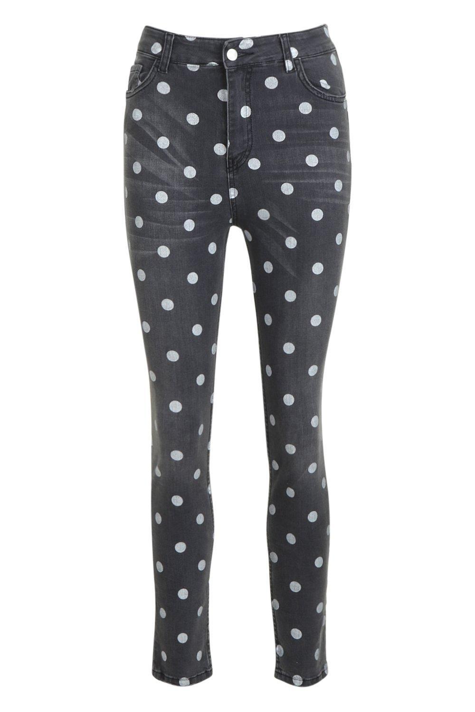 black Denim High Polka Skinny Dot Waist Jeans 1P61YwT