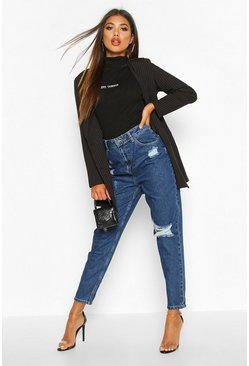 Dark blue Sophie High Waisted Distressed Mom Jeans