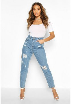 Womens Mid blue Sophie High Waisted Distressed Mom Jeans