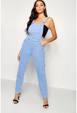 Womens Mid blue Rigid Loose Fit Denim Dungarees