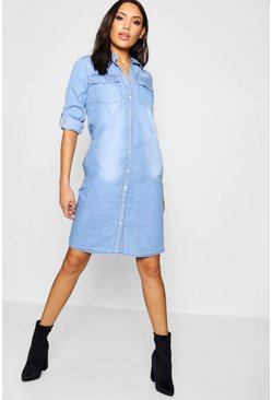 Womens Mid blue Western Denim Midi Dress