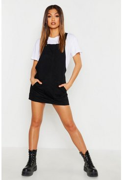 Womens Black Pocket Front Denim Pinafore