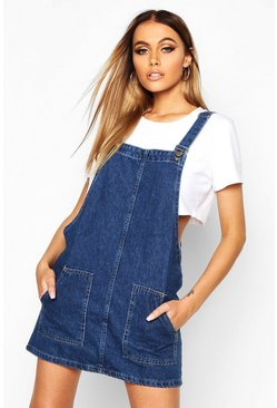 Womens Mid blue Pocket Front Denim Pinafore