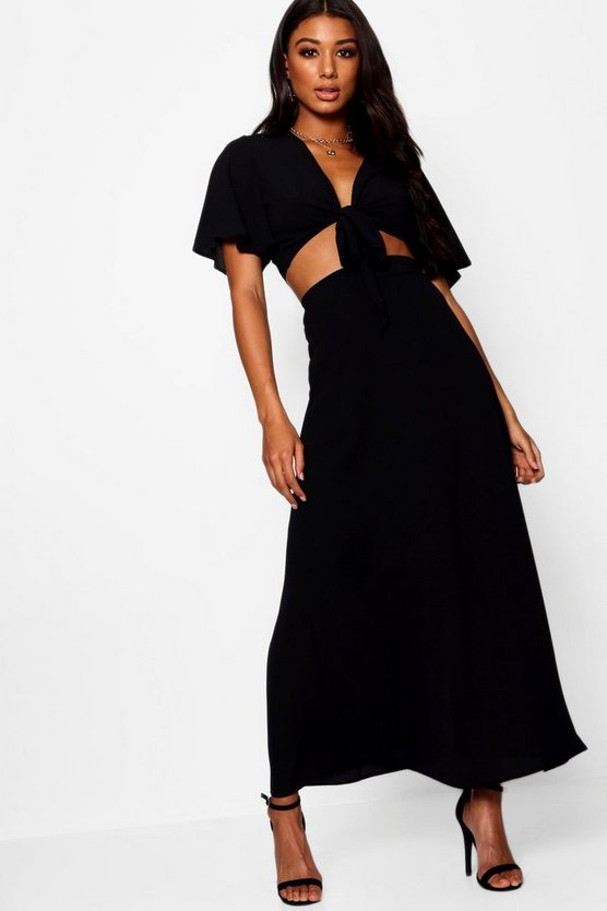 Womens Black Maye Tie Angle Sleeve Maxi Skirt Co-ord
