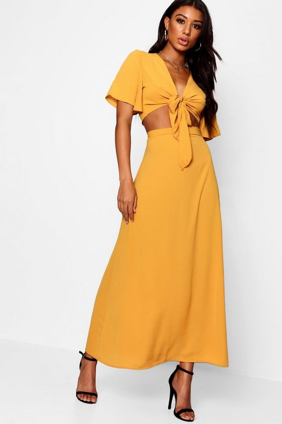 Womens Mustard Maye Tie Angle Sleeve Maxi Skirt Co-ord