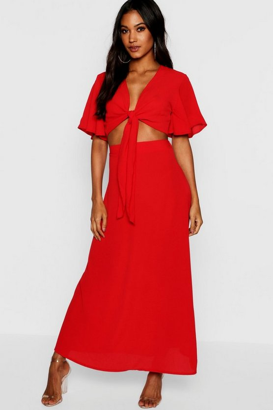 Red Maye Tie Angle Sleeve Maxi Skirt Co-ord
