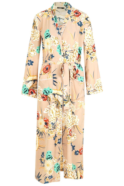 Premium Floral Print Premium Kimono Kimono mocha Print Floral qF5d5xU