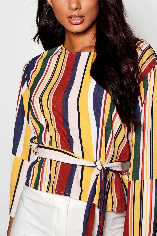 Sleeve Split Tie Stripe Back mustard Blouse wPYHvU