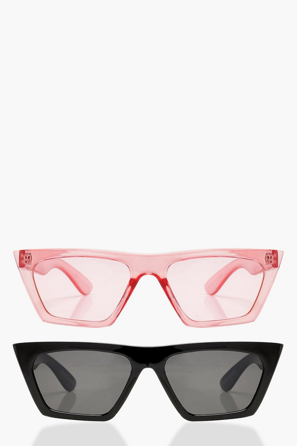 c2d4df9c0d2 Erin 2 Pack Flat Top Slim Cat Eye Sunglasses