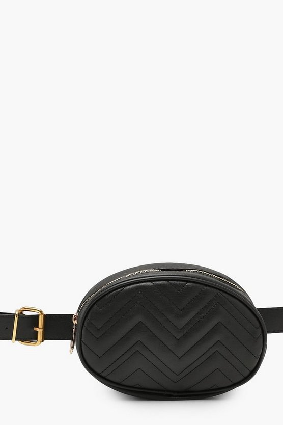 Womens Black Sophie Quilted Belt Bag