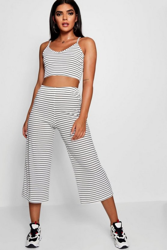 Rib Stripe Crop Top Wide Leg Culotte Co-ord