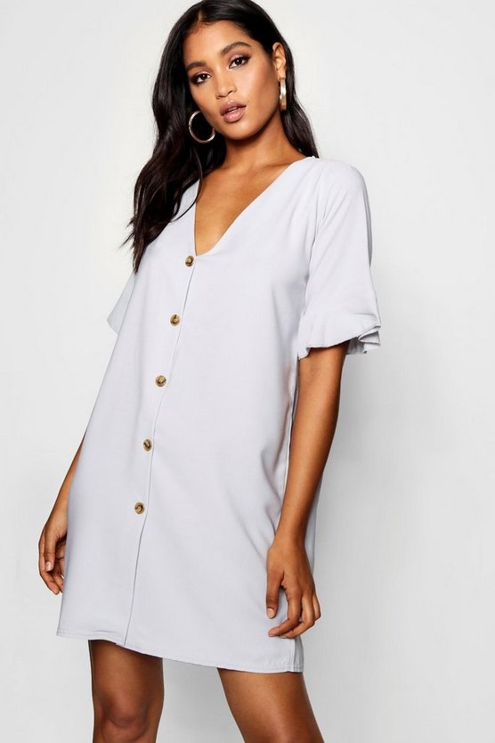 Flute Sleeve Mock Horn Button Detail Shift Dress