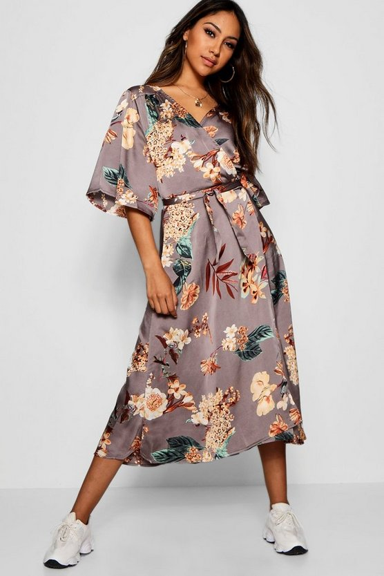 Amira Satin Flutter Sleeve Midi Dress