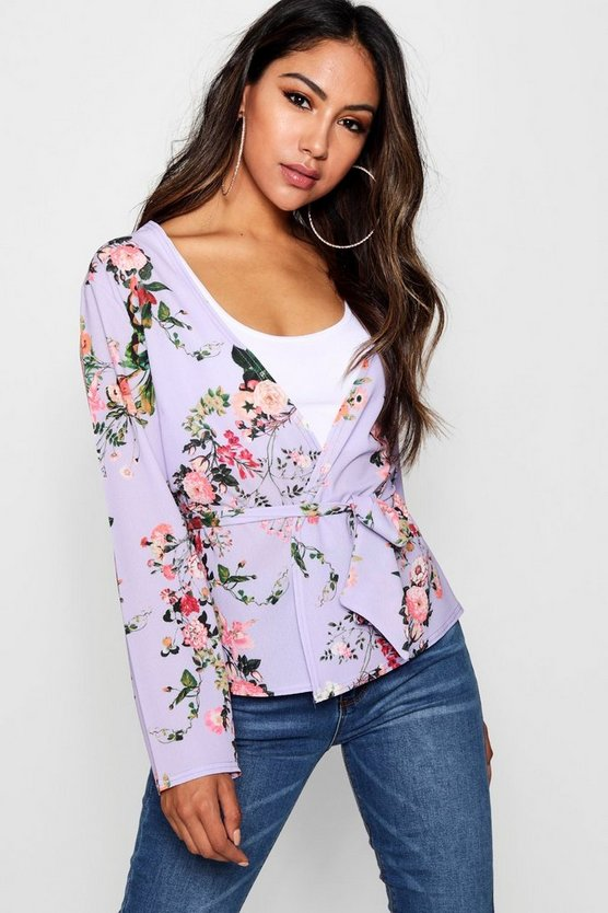 Rose Floral Belted Kimono
