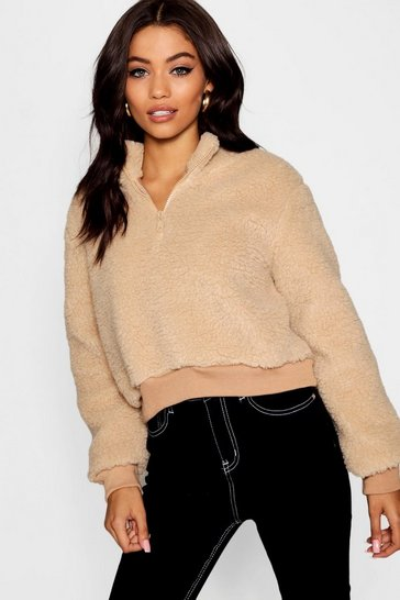 Womens Stone Teddy Faux Fur Funnel Neck Jumper