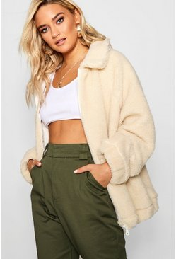 Womens Cream Collared Teddy Faux Fur Coat