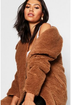 Womens Brown Shawl Collar Teddy Faux Fur Jacket