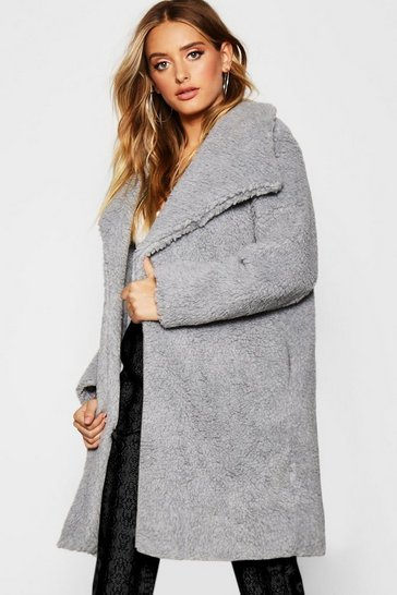 Womens Grey Shawl Collar Teddy Faux Fur Jacket