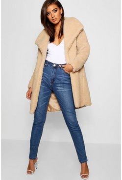 Stone Shawl Collar Teddy Faux Fur Jacket