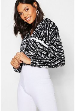 Womens Black Printed Sequin Trim Jacket