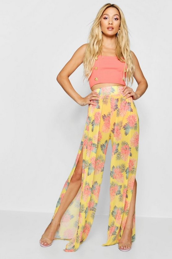 Tropical Print Mesh Wide Leg Trousers
